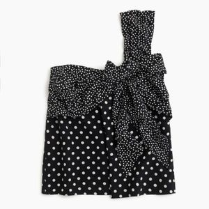 J. Crew One Shoulder Tank Top Polka Dot Black 10